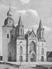 Die St. Viktor-Kirche in Damme um 1960 - the Catholic church of Saint Viktor in Damme at 1960. This new church was constructed from 1904 until 1906.